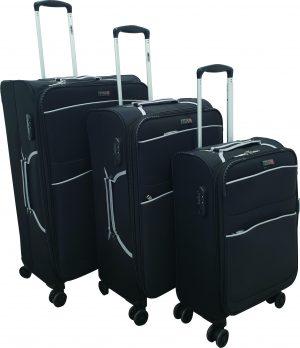 שלישיית מזוודות דגם 1328  שחור ואפור