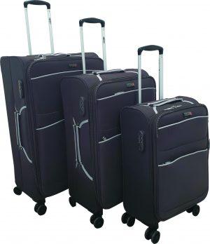 שלישיית מזוודות דגם 1328  אפור כהה ושחור