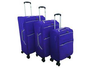 שלישיית מזוודות דגם 1328 סגול+שחור