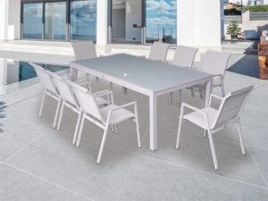 פינת אוכל נאפולי+6 כסאות צבע לבן