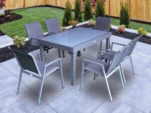 שולחן אלומיניום ויגו אפור+4 כסאות