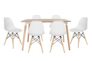 סט שולחן לרנקה צבע טבעי+ 4 כסאות  לבנים