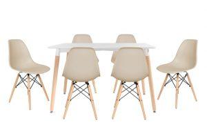 סט שולחן לרנקה צבע לבן+ 4 כסאות שמנת