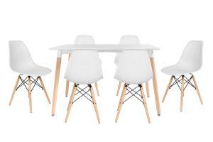 סט שולחן לרנקה צבע לבן+ 4 כסאות לבנים