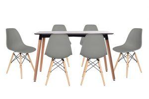 סט שולחן לרנקה צבע שחור+ 4 כסאות אפורים