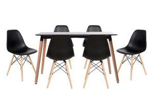 סט שולחן לרנקה צבע שחור+ 4 כסאות שחורים