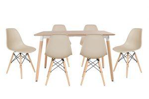 סט שולחן לרנקה צבע טבעי+ 4 כסאות שמנת