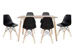סט שולחן לרנקה צבע טבעי+ 4 כסאות שחורים