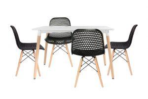 סט שולחן לרנקה צבע לבן+ 4 כסאות שחורים
