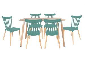סט שולחן לרנקה טבעי+ 4 כסאות טורקיז