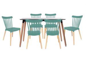 סט שולחן לרנקה צבע שחור+ 4 כסאות טורקיז