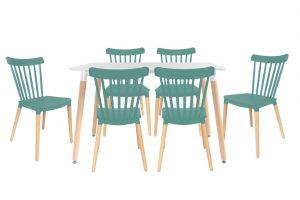 סט שולחן לרנקה צבע לבן+ 4 כסאות טורקיז