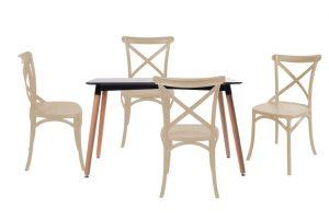 סט שולחן לרנקה צבע שחור+ 4 כסאות שמנת