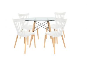 סט שולחן דה וינצ'י+ 4 כסאות לבנים