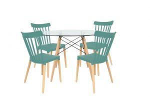 סט שולחן דה וינצ'י+ 4 כסאות טורקיז