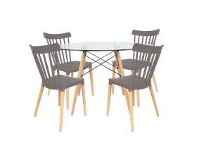 סט שולחן דה וינצ'י+ 4 כסאות אפורים
