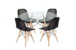 סט שולחן דה וינצ'י+ 4 כסאות שחורים – אספקה עד 21 ימי עבודה