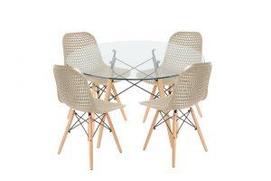 סט שולחן דה וינצ'י+ 4 כסאות שמנת