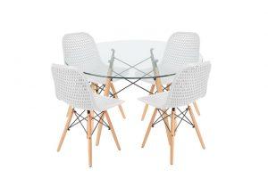 סט שולחן דה וינצ'י+ 4 כסאות לבנים – אספקה עד 21 ימי עבודה