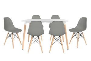 סט שולחן לרנקה צבע לבן+ 4 כסאות אפורים