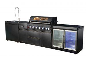 מטבח גן פרימיום צבע עם מקרר כפול צבע שחור NET BROIL