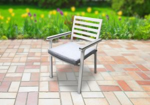 כסא אלומיניום luxury שלדה לבנה ידיות אפורות