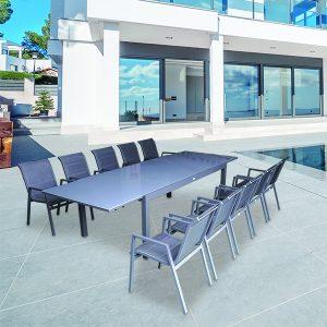 פינת אוכל נאפולי+6 כסאות צבע אפור