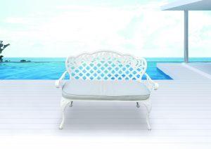 ספסל יציקת אלומיניום הנרי צבע לבן